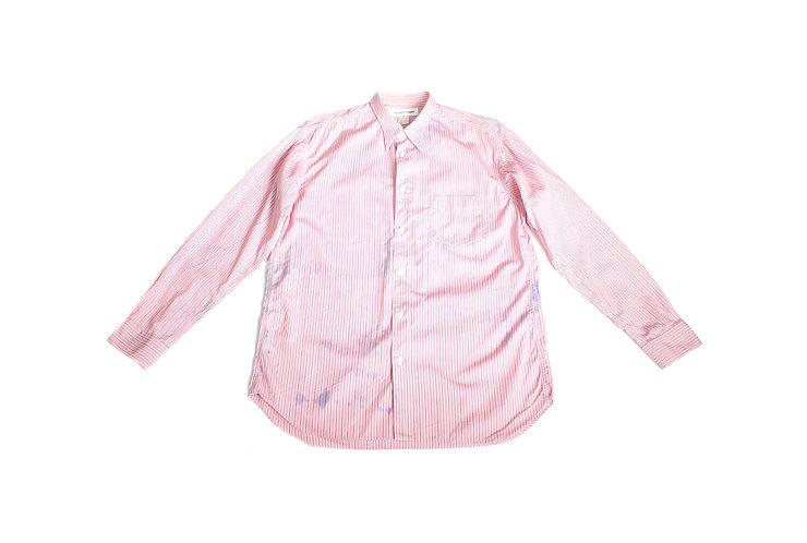 COMME des GARÇONS SHIRT Ink Splatter Pinstripe Shirt