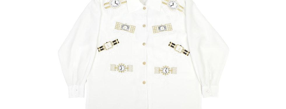 Moschino Watch Motif Silk Shirt