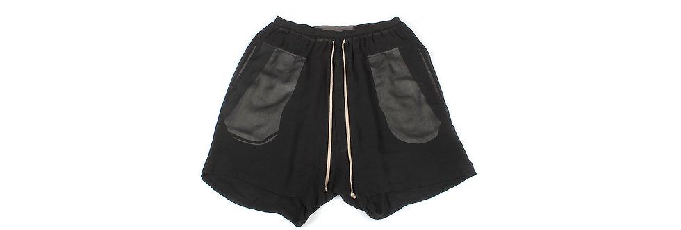 Rick Owens SS10 Black Silk Drop Crotch Shorts