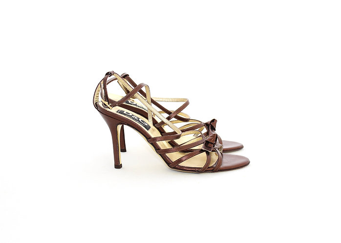Dolce & Gabbana AW02 Metallic Brown Strappy Heels