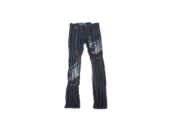 Issey Miyake SS15 Dragonfish Print Pleated Jeans