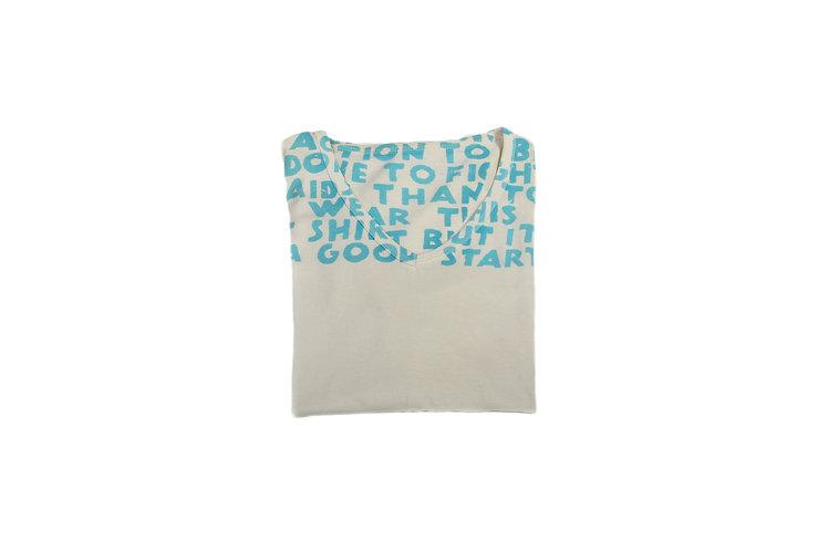 Maison Martin Margiela SS06 Cream/Turquoise Charity AIDS T-Shirt