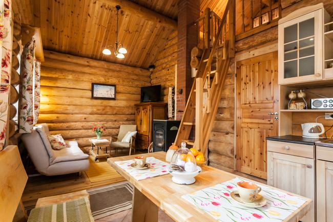 Kichen and livingroom in Koru cottage