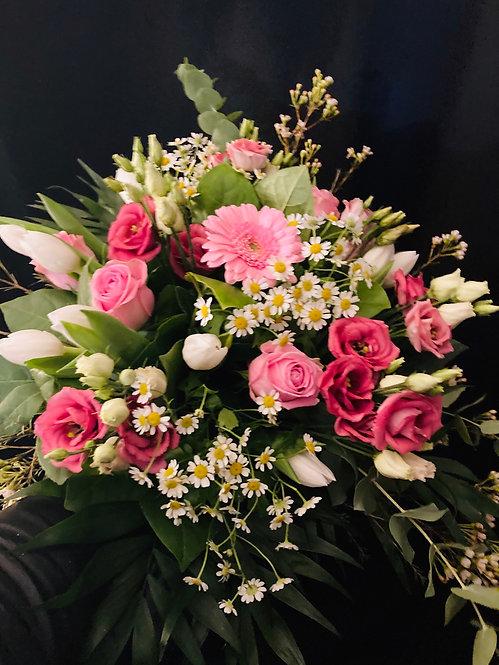 Beau bouquet rond rose et vert   ( photo non contractuel)