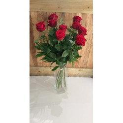 Bouquet de 9 roses rose avec sa garniture( photo non contractuel)