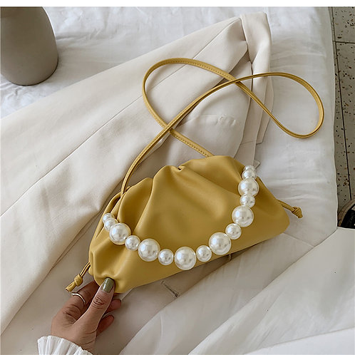 Allure Yellow Pearl Mini Pouch Bag
