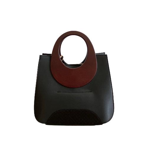 Sateen All Black Wood Top Handle Bag