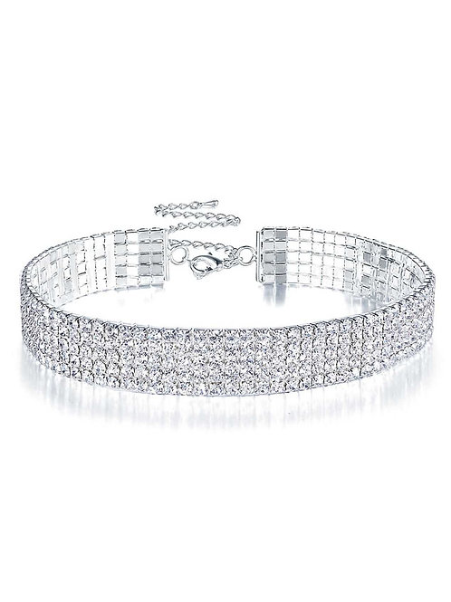 Milanetta Five Row Crystal Choker