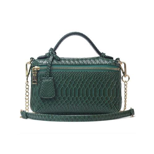 "Allure Green ""Serpent"" Zipped Shoulder Bag"
