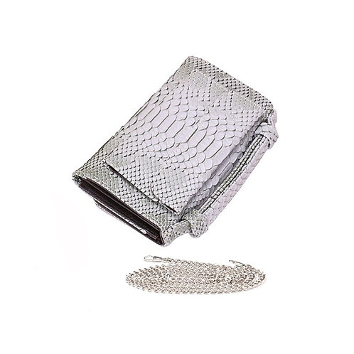 "Allure Grey ""Serpent"" Wallet On Chain & Clutch Bag"