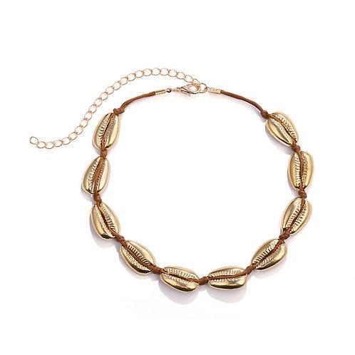 Milanetta Gold Cowrie Seashell Choker