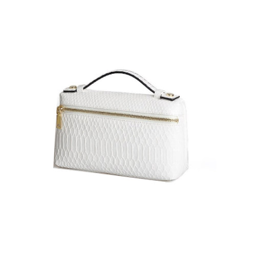 """Allure White Large """"Serpent"""" Zipped Clutch"""