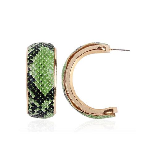 Milanetta Green Snakeskin Print Hoop Earrings