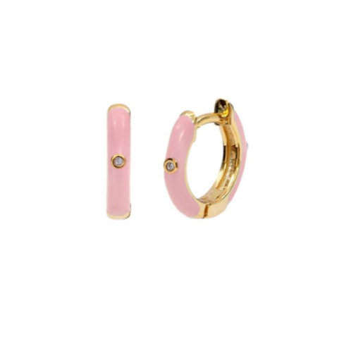 18K Gold Plated Pink Mini Hoops