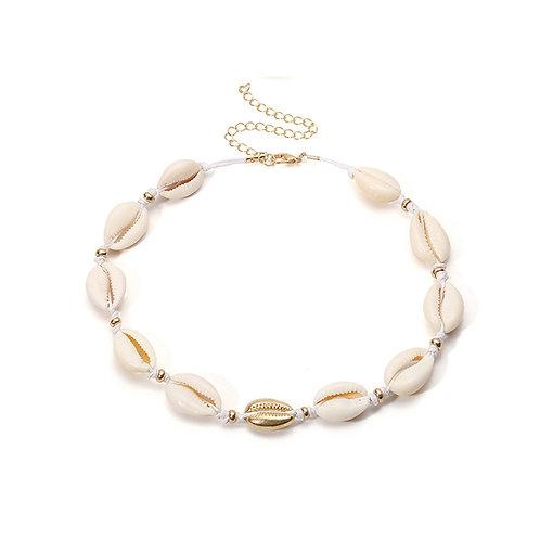 Milanetta Cowrie Seashell & Gold Detail Choker