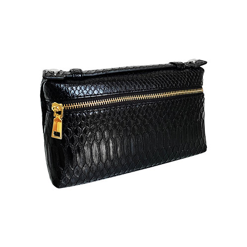 "Allure Black Large ""Serpent"" Zipped Clutch"