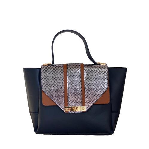 Sateen Navy Blue Large Python Detail Bag