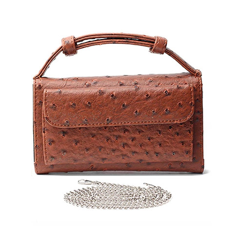 "Allure Brown ""Ostrica"" Wallet On Chain & Clutch Bag"
