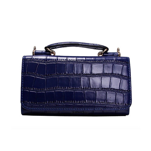"Allure Navy ""Croco"" Wallet On Chain & Clutch Bag"