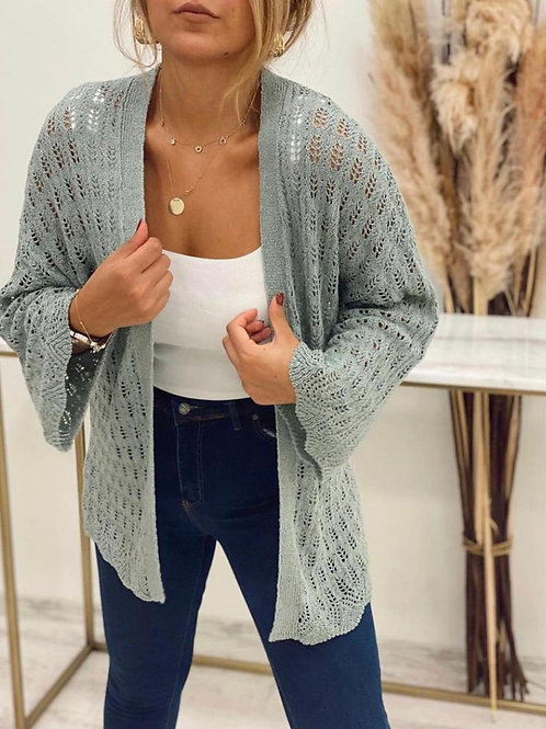 Sateen Knitted Longline Cardigan