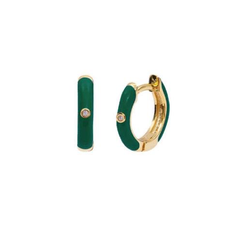18K Gold Plated Green Zircon Mini Hoops