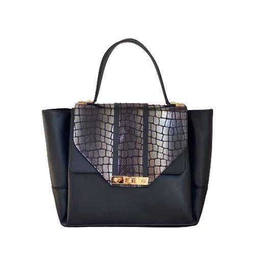 Sateen Black & Metallic Large Croc Detail Handbag