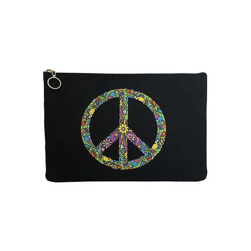Milanetta Black Peace Makeup Pouch