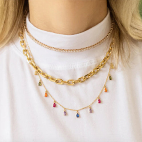 18K Gold Plated Rainbow Stone Necklace
