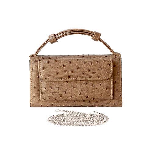 "Allure Beige ""Ostrica"" Wallet On Chain & Clutch Bag"