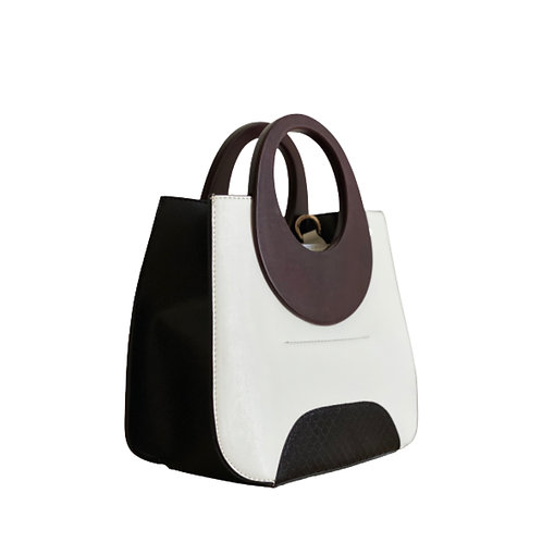 Sateen White Wood Top Handle Bag