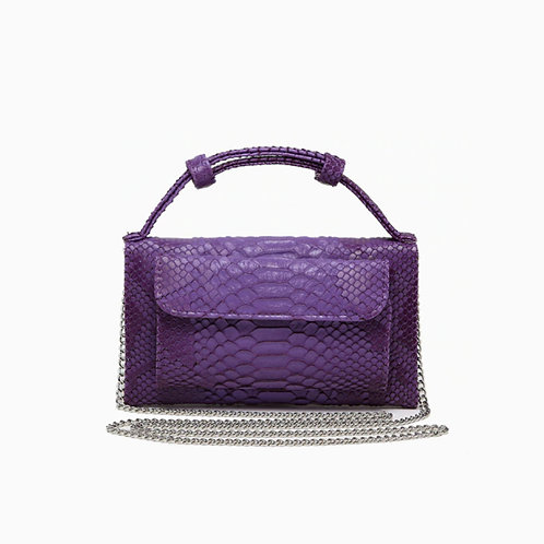 "Allure Purple ""Serpent"" Wallet On Chain & Clutch Bag"