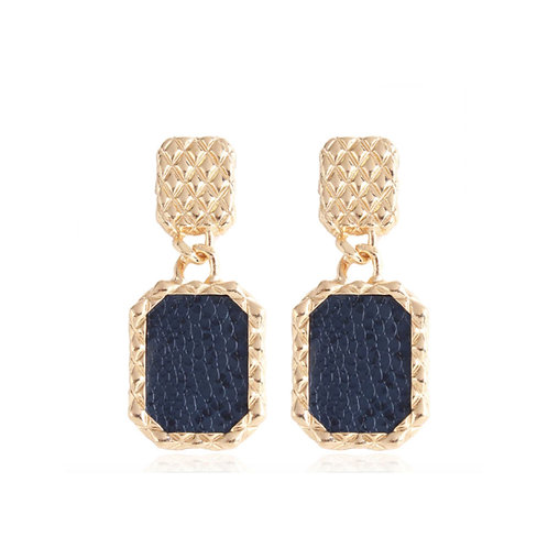 Milanetta Gold Drop Snakeskin Print Earrings