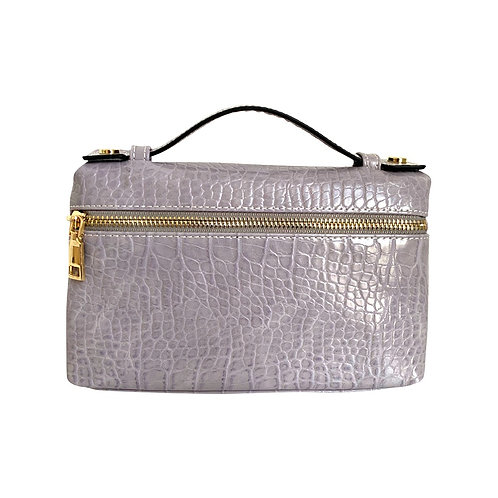 "Allure Lilac Large ""Croco"" Zipped Clutch"