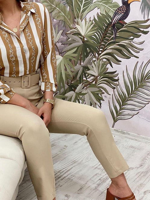 Sateen Belted Skinny Suit Trousers