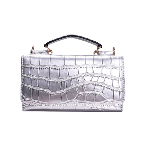 "Allure Silver ""Croco"" Wallet On Chain & Clutch Bag"