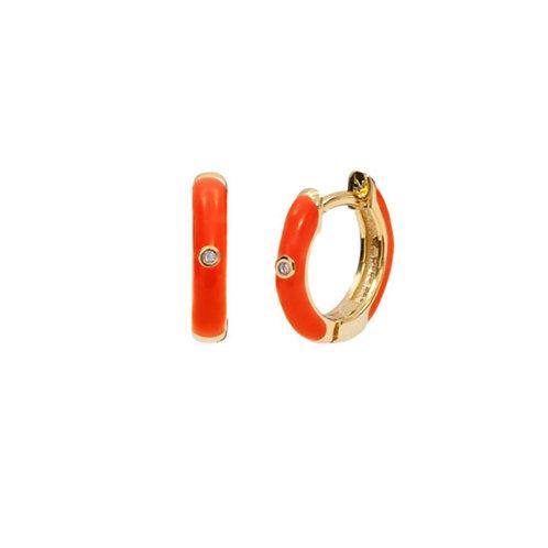 18K Gold Plated Orange Mini Hoops