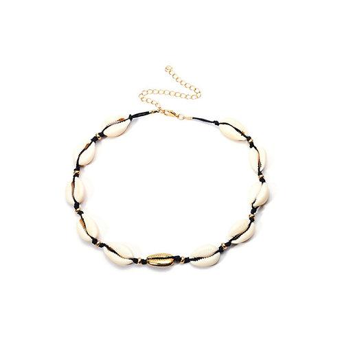 Milanetta Black Cowrie Seashell & Gold Detail Choker