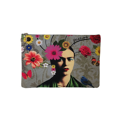 Milanetta Floral Frida Kahlo Makeup Pouch