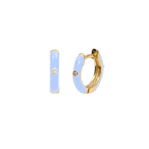 18K Gold Plated Blue Mini Hoops