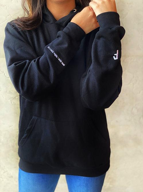 """Aura Black Embroidered Hoodie """"Social Vegan"""""""