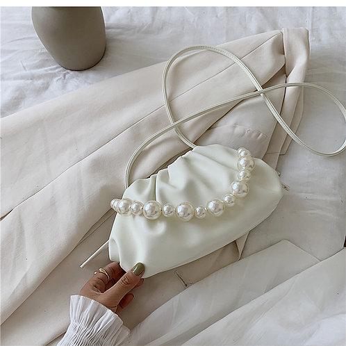 Allure White Pearl Mini Pouch Bag