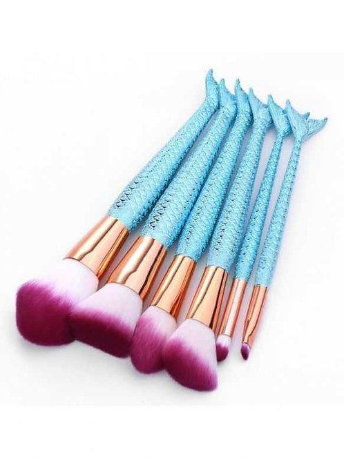 Milanetta Set Of Ten Mermaid Blue Make-up Brushes