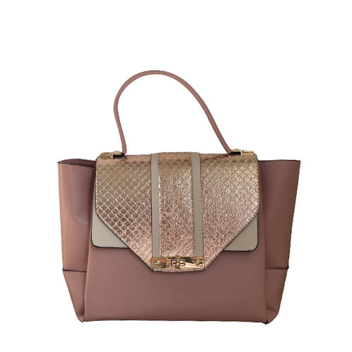 Sateen Pink Large Python Detail Bag