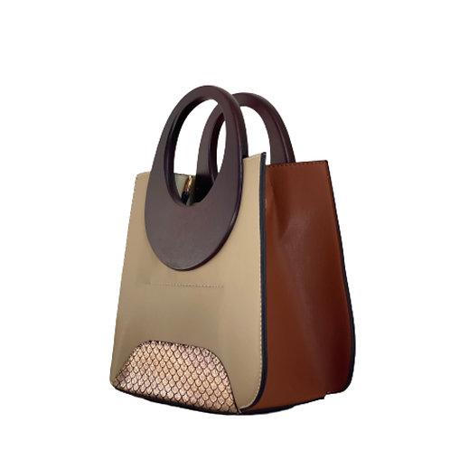 Sateen Beige Wood Top Handle Bag