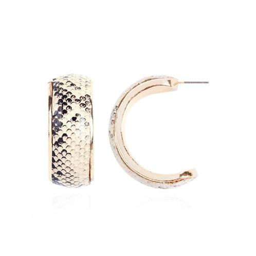 Milanetta Beige Snakeskin Print Hoop Earrings