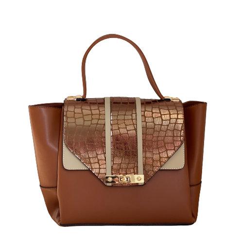 Sateen Brown Large Croc Detail Handbag