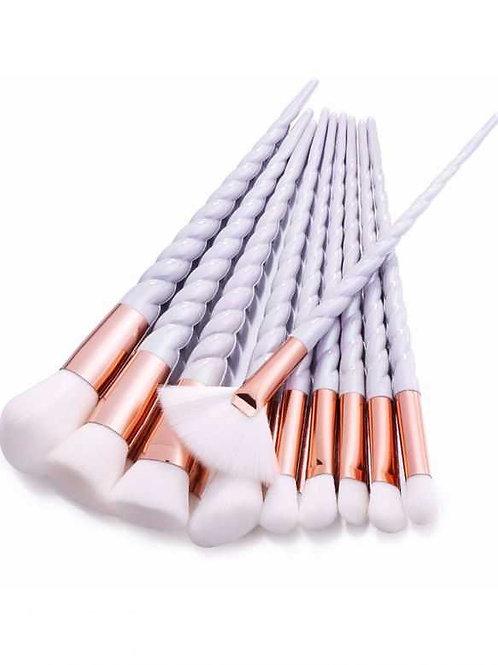 Milanetta Set Of Ten Unicorn Pearl Make-Up Brushes