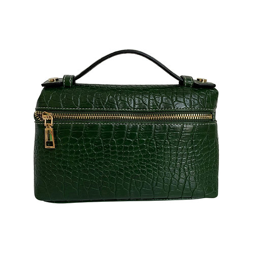 "Allure Green Large ""Croco"" Zipped Clutch"