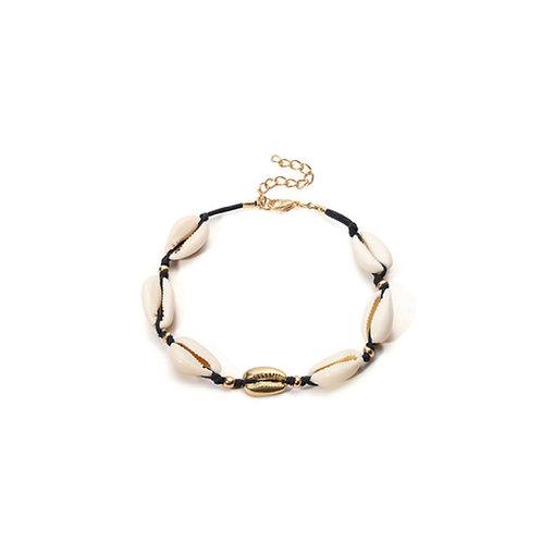 Milanetta Black Cowrie Seashell & Gold Detail Bracelet