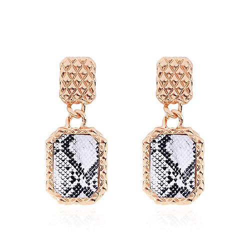 Milanetta Gold Drop Snakeskin Pattern Earrings